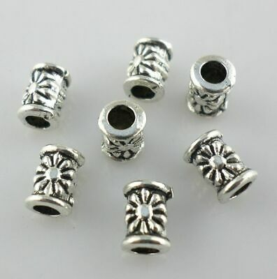 20//40pcs Tibetan Silver Round Tube Charm Spacer Beads Jewelry Findings 6x7mm
