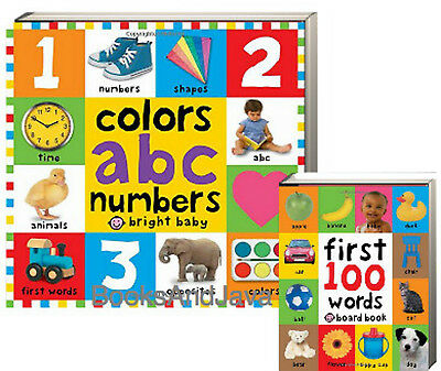 Colors ABC Numbers Bright Baby Big Board Book & First 100 Words 2 bb Set NEW
