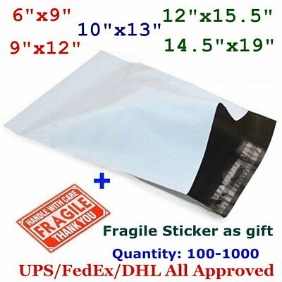 14.5x19 12x15.5 10x13 9x12 6x9 Poly Mailers Shipping Self Sealing Plastic Bags