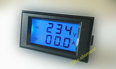 AC LCD 80-300V 1-100A Current Voltage Combo Panel Meter With CT Rear Cover Safer
