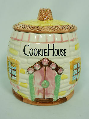 Vintage Cookie House Ceramic Cookie Jar Pottery ESD Japan Hand Painted Accent
