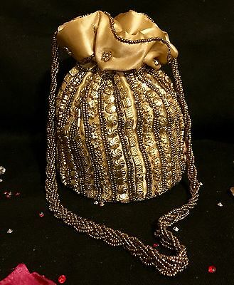Bollywood Style Gold Silk Potli Wedding Party Purse Clutch Drawstring Dolly Bag