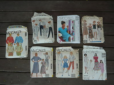 7x Vintage McCalls Dress Patterns ~ Retro Mens Womens Skirt Pants Shirt Fashion