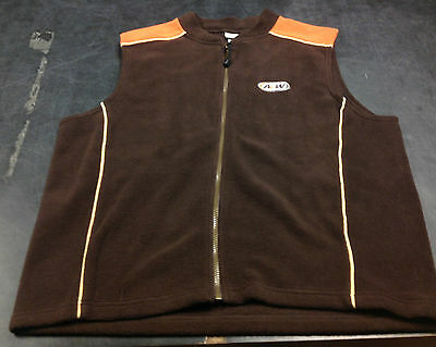 Original A&W Large Fleece Vest Warm Soft Brown Orange Embroidered