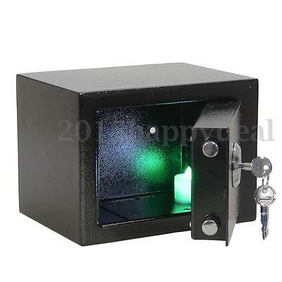 Strong Iron Steel Key Operated Security Money Cash Safe Box Home Office Jewelry