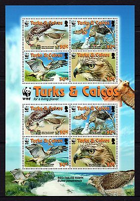 Turks & Caicos 2010 WWF Red-Tailed Hawks Sheetlet 8 MNH