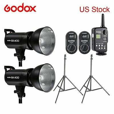 2x Godox SK400 400WS Photography Flash Strobe Video Studio Light Lamp Head 110V