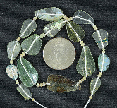 Ancient Roman Glass Beads 1 Medium Strand Aqua And Green 100 -200 Bc 575