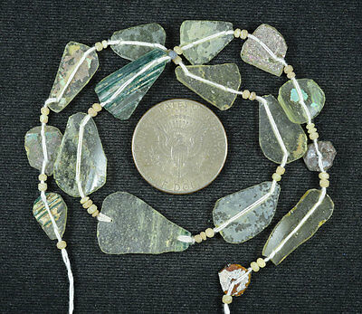 Ancient Roman Glass Beads 1 Medium Strand Aqua And Green 100 -200 Bc 579