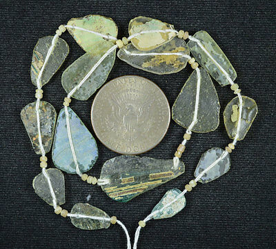 Ancient Roman Glass Beads 1 Medium Strand Aqua And Green 100 -200 Bc 580
