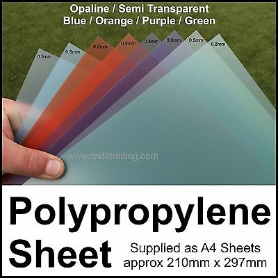 A4 Tinted Frosted Polypropylene Plastic Sheet Binding Art Craft & Model Making