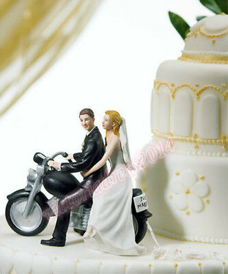 Resin Motorcycle Bride & Groom Figurine Fashion Party Wedding Cake Topper Gift