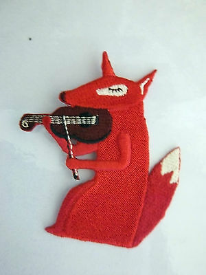 Fox playing Violin Embroidered  Iron Sew on Badge Patch 5.0 x 8.0