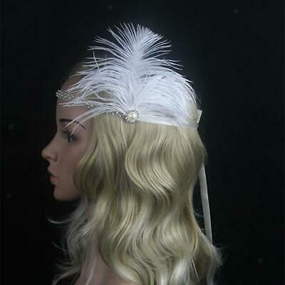 Feather 1920s Flapper Headpiece Headband Great  Crystal Rhinestone Tiara