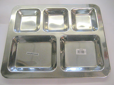 5 Section Stainless Steel Indian Thali Dish Food Tray Dinner Plate