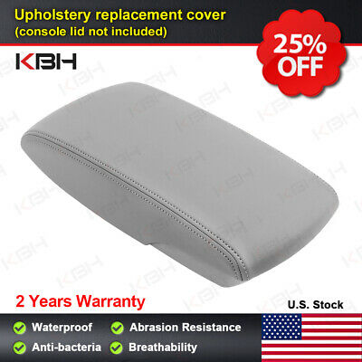 Leather Armrest Console Lid Cover Skin Fits for Toyota Camry 2007-2011 Gray