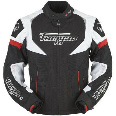 Furygan Spark Textile Waterproof Motorcycle Jacket - Black / White / Red
