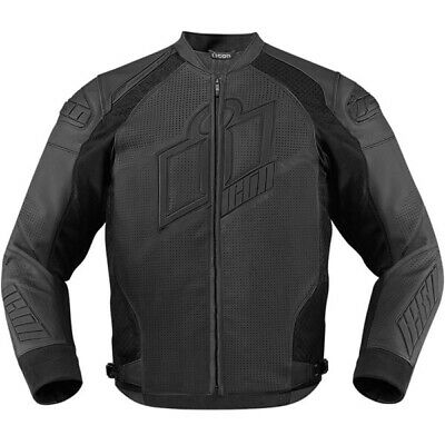 Icon Hypersport Prime Leather Motorcycle Motorbike Jacket - Stealth
