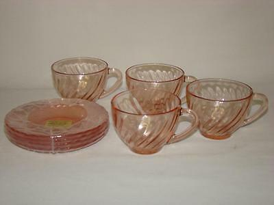 Arcoroc FRANCE Pink Swirl Rosaline Cups and Saucers Lot of 4 UNUSED