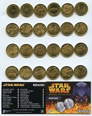 STAR WARS Revenge of the Sith Medalionz Coin Set Gold 24 Medallions LIMITED