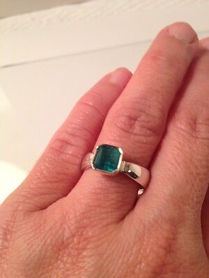 Solitaire Genuine Natural Colombian Emerald Ring Sterling Silver