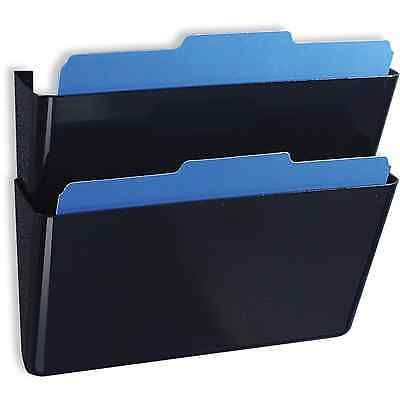 Stacking Wall File Pockets Holder Mail Document Organizer 2 Pack Black Office