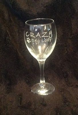 Funny Crazy Dog Lady Etched Wine Glass Gift Present Dog Walker Dogs Canine Mum