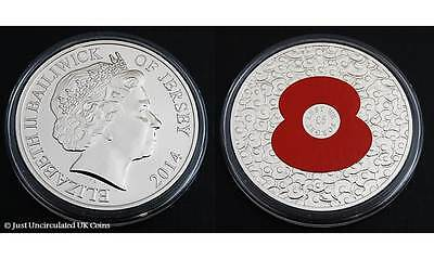 2014 POPPY £5 Five Pound Colour Coin - Bailiwick of Jersey - BU 'Lest We Forget'