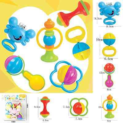 6Pcs Colorful Ring Bell Grasp Hand Shake Musical Toy Rattle Baby Educational Set