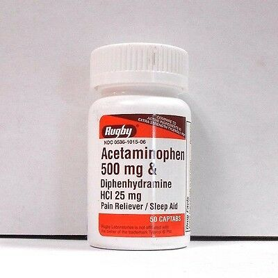Rugby Acetaminophen 500mg/Diphenhydramine 25mg 50ct -(Compare to Tylenol PM)