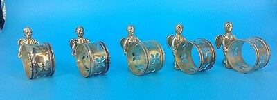 5 Vintage Antique Figural Cherub Angel Napkin Ring Holders Silverplate