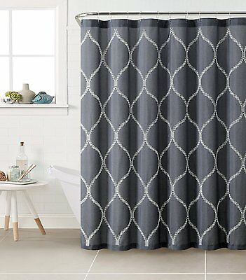 Bathroom Shower Curtain Polyester Fabric, Navy Blue and Gray ...