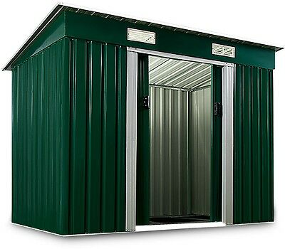 Garden Metal Tool Shed Patio Outdoor Bikes Tools Storage with Foundation Green
