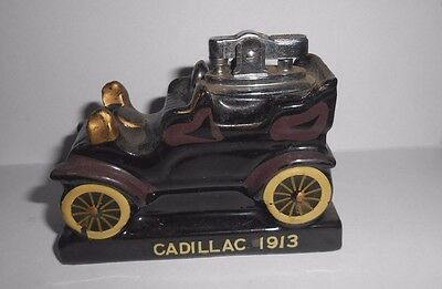 "Vintage 1964 Amico Ceramic Antique Car Table Lighter 1913 Cadillac 3-5/8"" Long"