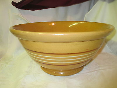 Vintage large Stoneware Kitchen Mixing Bowl mustard color w/ brown cream stripes