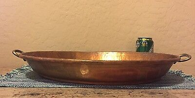 """Large Vintage Antique Hammered Copper Pan ~ 4LBS. ~ 21"""" X 14""""X 2-5/8"""" High Oval"""