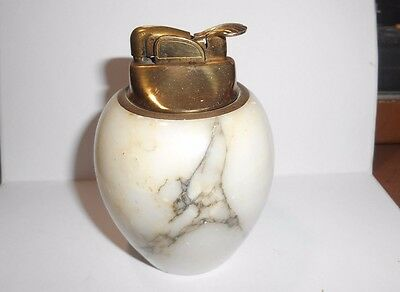 Vintage Evans Fluid Wick Table Lighter With Solid White Marble Base - Works