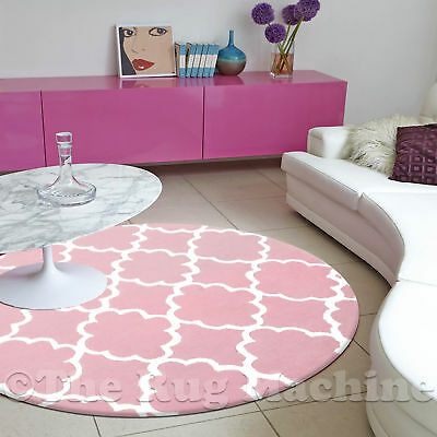 DIZZY KIDS MOROC TILE LIGHT PINK THICK ACRYLIC FLOOR RUG 120x120cm Round *NEW