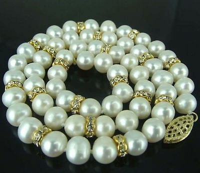 "AAA 20""  9-10 MM SOUTH SEA NATURAL White PEARL NECKLACE 14K GOLD CLASP"