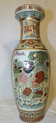 "Decorative Reproduction Satsuma Asian Ceramic Vase Bird Motif 12"" Height"