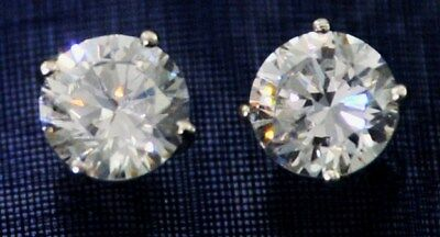 3 ct tw. Earrings Brilliant Top AAAAA Russian Quality CZ Moissanite Simulant SS