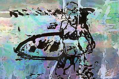 Australia art print BEACH modern abstract painting large surfing surf board 59""