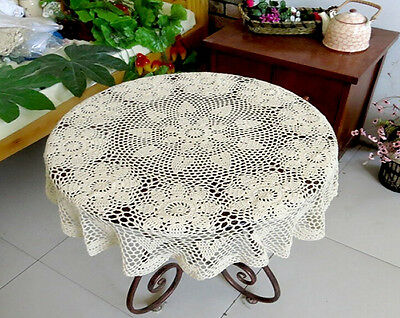 Hand-Crochet Round Hollow Lace Table Cloth Cotton Floral Tablecloth 90/120CM
