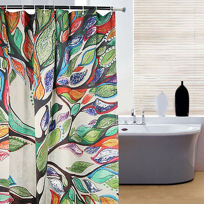 New Colorful Tree Fabric Bathroom Shower Curtain Liner Waterproof With Hooks
