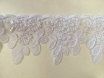 1.3M Beaded Lace Trim  White On Special Not received Return
