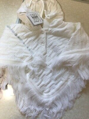 Baby White Poncho 6-12 12-18 & 18-24 Months Knitted Frill Cardigan Matinee New