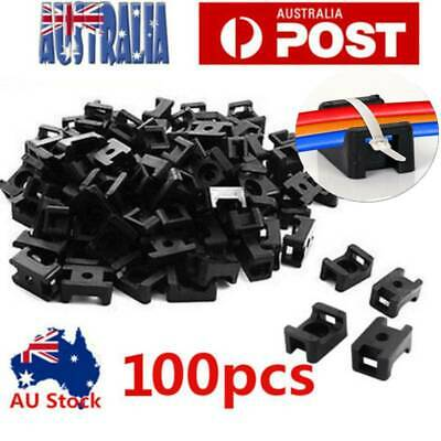 100pcs Screw Fixing Cable Wire Zip Tie Mount Base Saddle Cable Holder Plastic