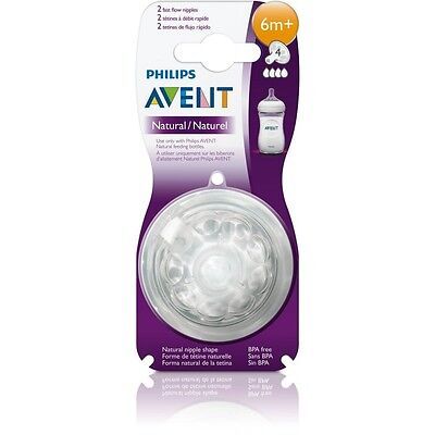 Philips SCF654/27 Avent Natural 2-Pack Fast Flow Teats 6m+