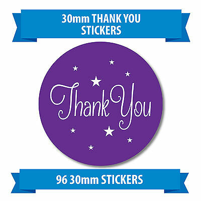 "96 30mm ""THANK YOU"" stickers purple stars"