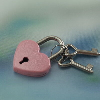 Old Vintage Antique Style Mini Padlock Heart Shaped With Keys--Pink Color